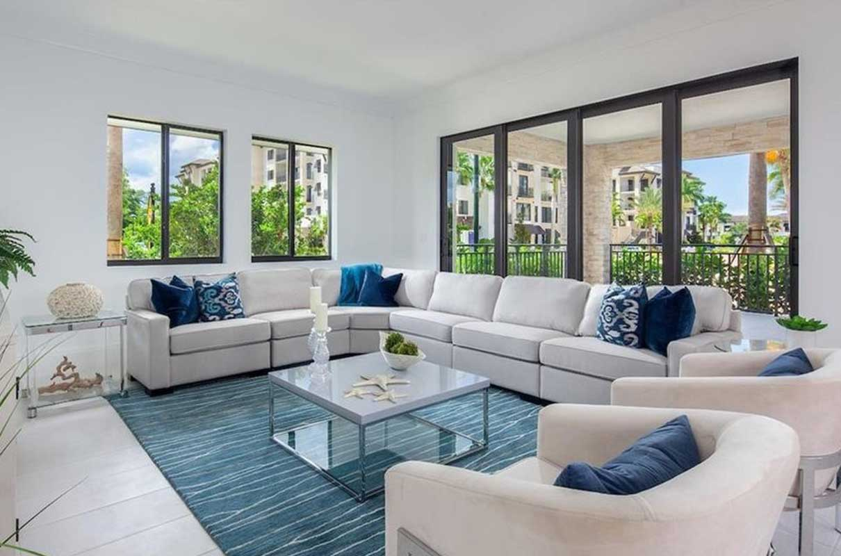 3rd Ave S living room staged by Naples Home Staging | Home Staging Services Southwest Florida Vacant Home Staging and Furnished Home Staging