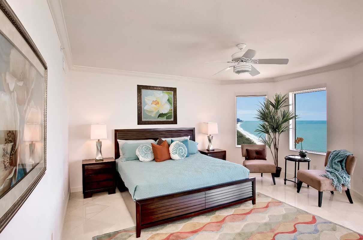 Bay Colony high-rise master bedroom staged by Naples Home Staging | Home Staging Services Southwest Florida