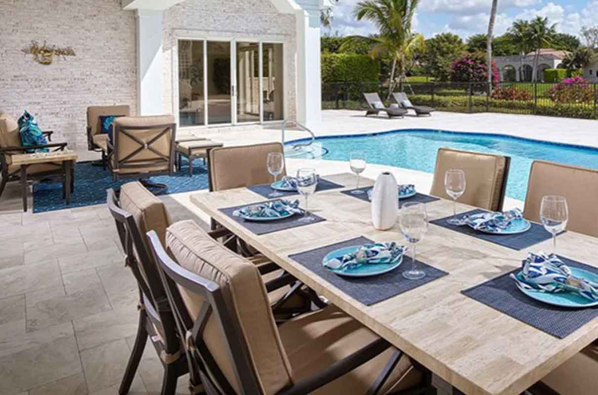 Bay Colony lanai and pool area staged by Naples Home Staging | Home Staging Services Southwest Florida Vacant Home Staging and Furnished Home Staging
