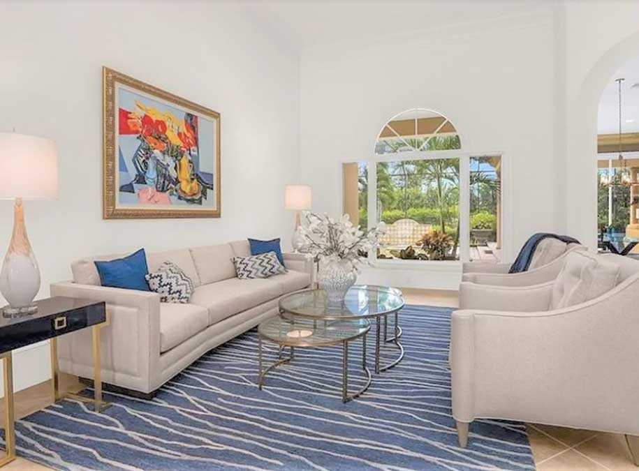 Isla Vista living room in Naples staged by Naples Home Staging | Home Staging Services Southwest Florida Vacant Home Staging and Furnished Home Staging