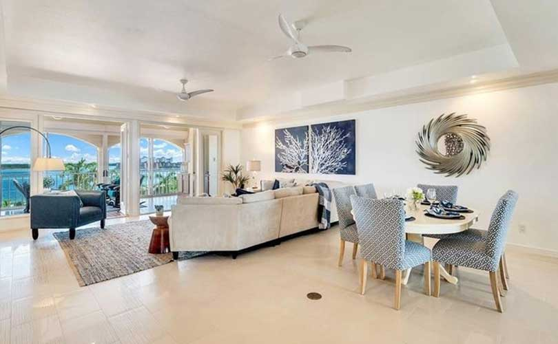 Marco Island Condominium Living Room Furnished Home Staging | Home Staging Services Naples Home Staging Before & Afters