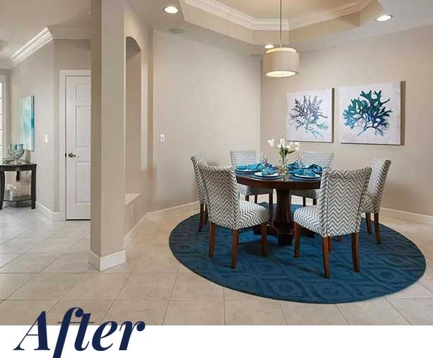 Nesting Court dining room — After | Naples Home Staging Home Staging Services Southwest Florida Vacant Home Staging and Furnished Home Staging