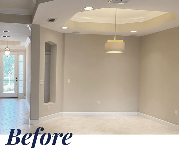 Nesting Court dining room — Before | Naples Home Staging Home Staging Services Southwest Florida Vacant Home Staging and Furnished Home Staging