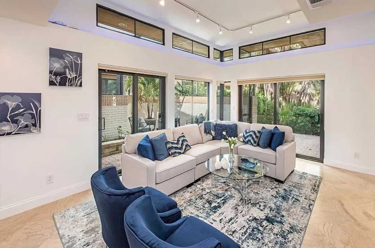 Pelican Bay Blvd. living room staged by Naples Home Staging | Home Staging Services Southwest Florida