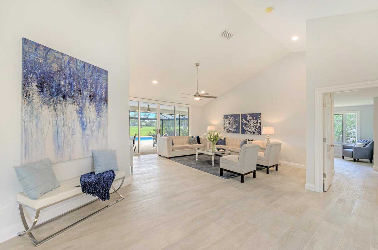 Entry way and living room staged by Naples Home Staging | Home Staging Services Southwest Florida