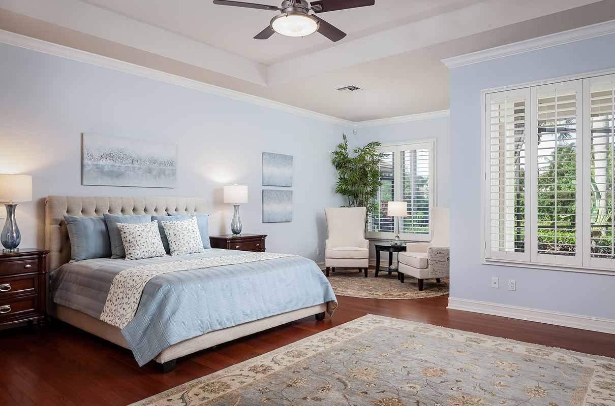 Sedge Place master bedroom staged by Naples Home Staging | Home Staging Services Southwest Florida