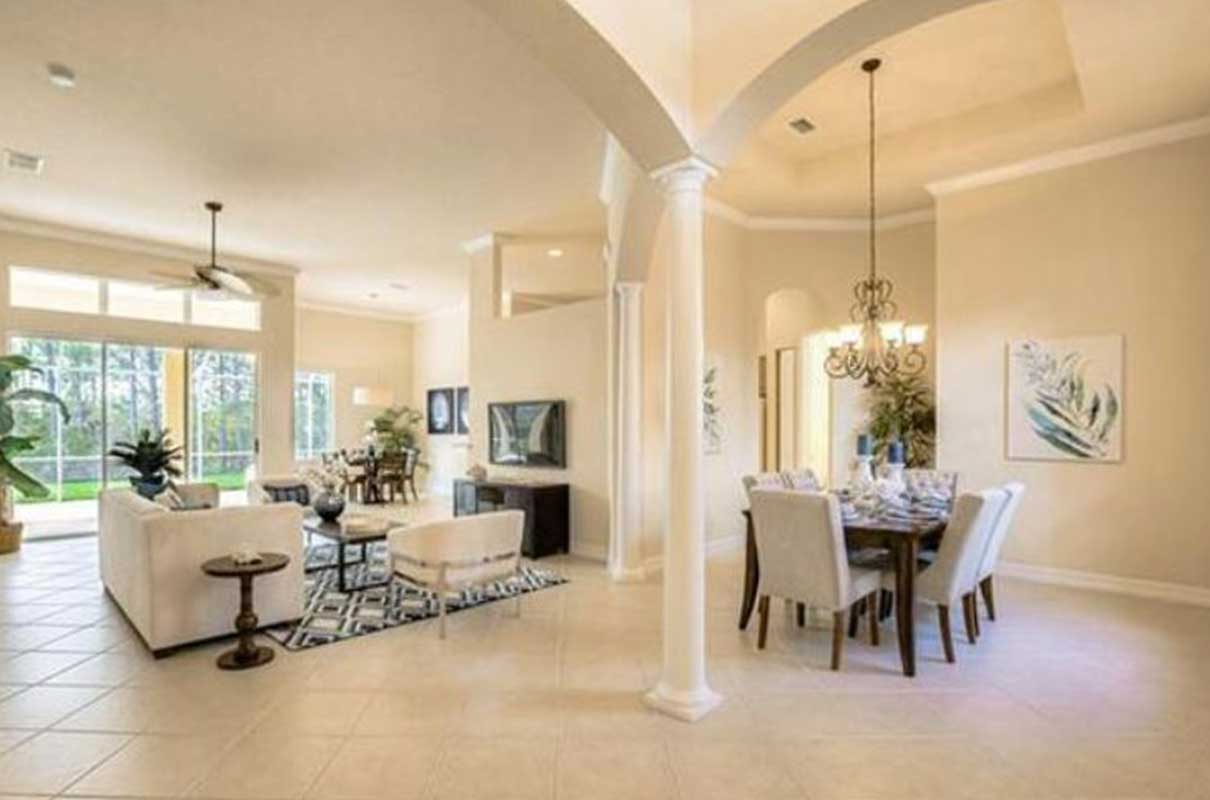 Serenity Circle living room & dining room staged by Naples Home Staging | Home Staging Services Southwest Florida