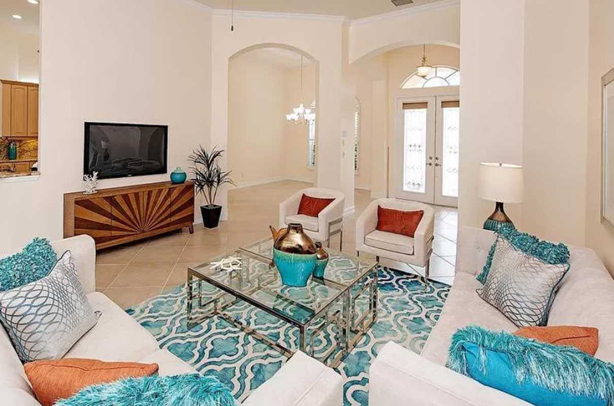 Serenity Circle living room staged by Naples Home Staging | Home Staging Services Southwest Florida