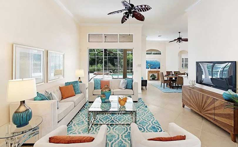 Sterling Oaks Living Room Furnished Home Staging | Home Staging Services Naples Home Staging Before & Afters