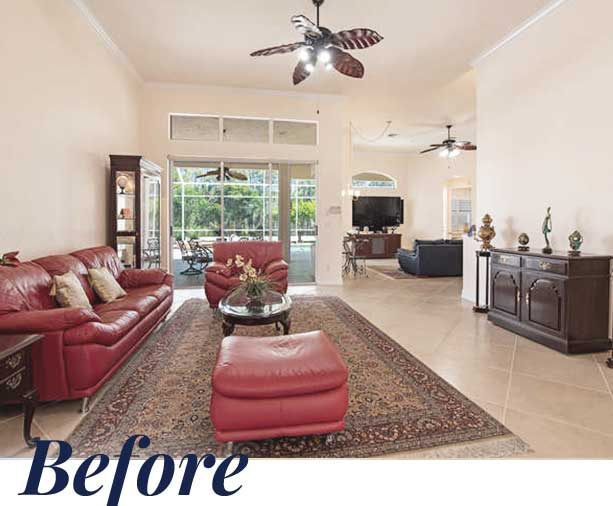 Sterling Oaks living room — Before | Naples Home Staging Home Staging Services Southwest Florida Vacant Home Staging and Furnished Home Staging