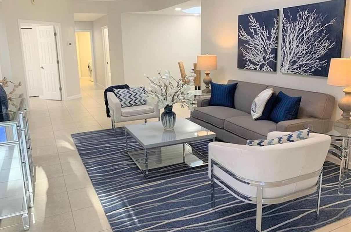 Timberland Circle living room staged by Naples Home Staging | Home Staging Services Southwest Florida