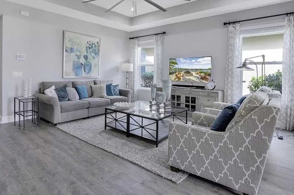 Tropical Drive Living Room staged by Naples Home Staging | Home Staging Services Southwest Florida