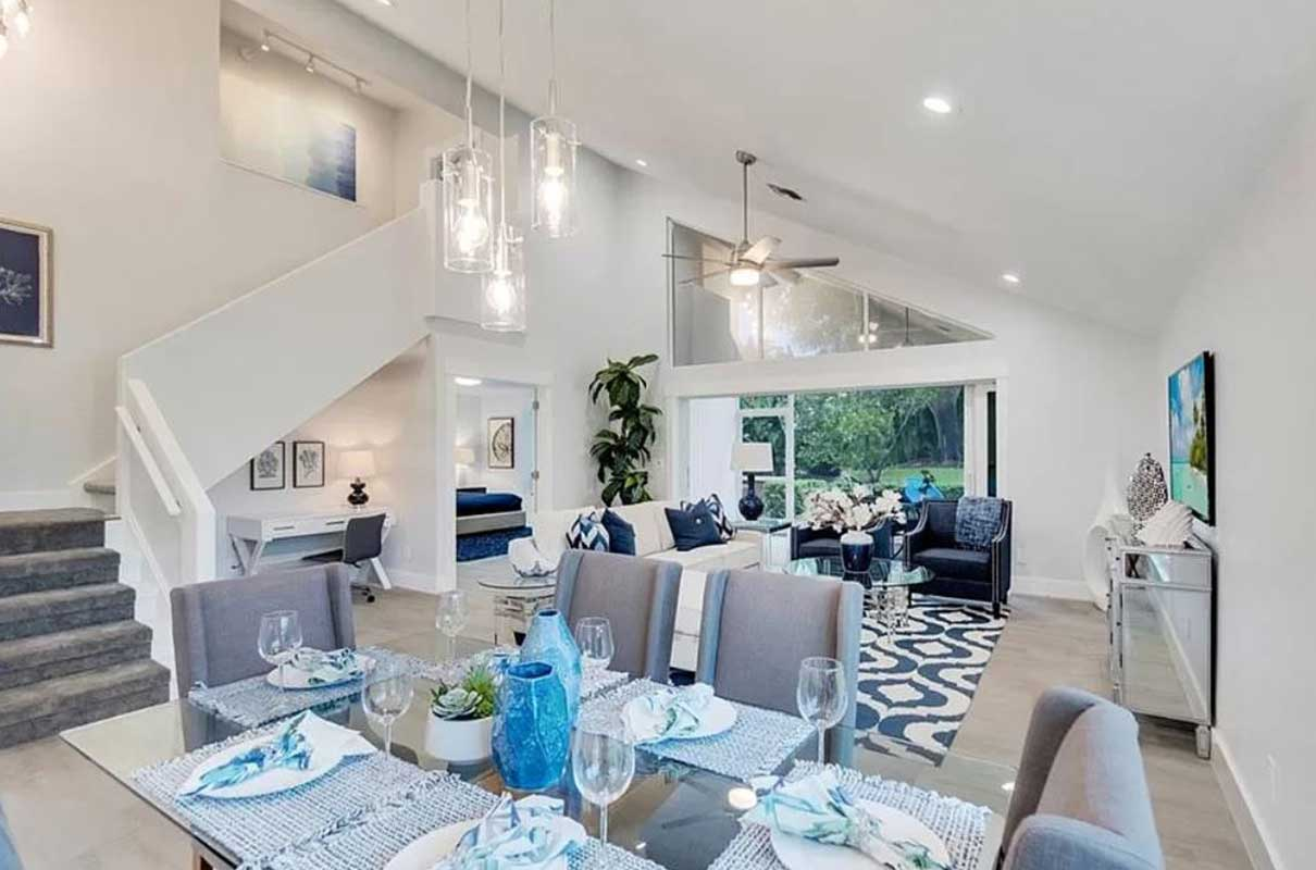 Weybridge Living Room staged by Naples Home Staging | Home Staging Services Southwest Florida Vacant Home Staging and Furnished Home Staging